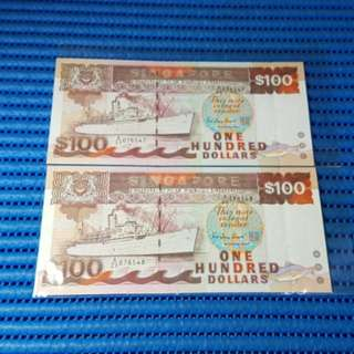 2X Singapore Ship Series $100 Note A/20 076547-076548 Run Dollar Banknote Currency
