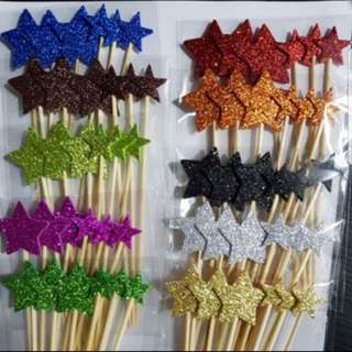 (Buy 2 get 1 free) Foam Glitter Gold/silver Star topper for cake/ Party Cake Decorations
