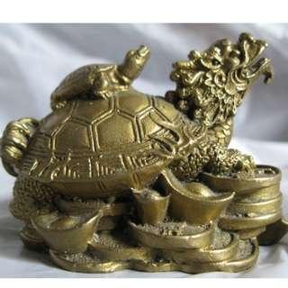 -新年特賣-旺財,招財龍龜,黃銅像一座
