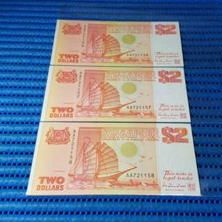 3X AA Singapore Ship Series $2 Note AA 721156-721158 Run Dollar Banknote Currency