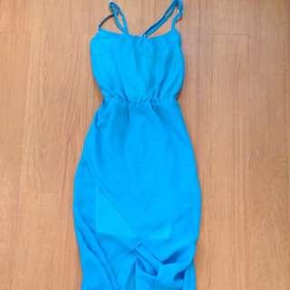 Blue Assymetrical Chiffon Dress
