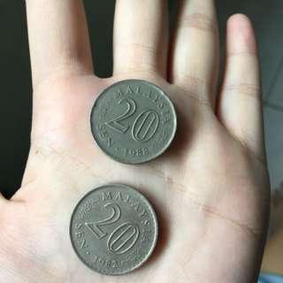 Y1982/ Y1988: Malaysia Old Currency 20Sens