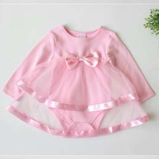 66221 Baby Bow Long Sleeve Romper Dress