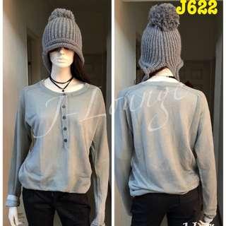 J 622全新H&M亨利領前排扣柔軟針織衫knitted top J-Lounge