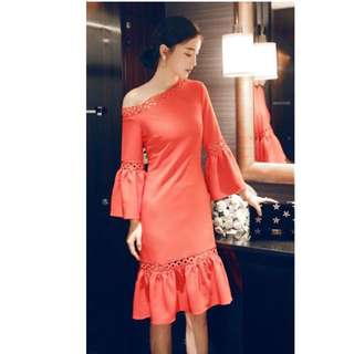 Red off shoulder elegant dress