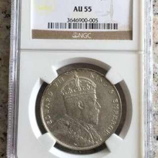 Straits Settlements 1908 AUNC $1 silver coin