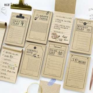Kraft Paper Schedule Planning Sticky Memo