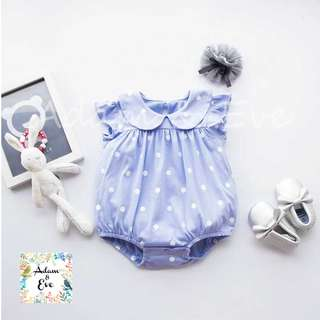 ♫♫Baby Fashion♫♫ Baby Romper B4 – Blue Polka Dot Romper $10.90