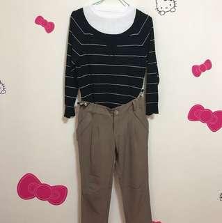 橫條薄針織+咖啡色雪紡褲