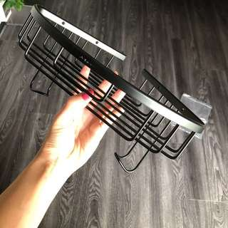 Black Aluminum bathroom corner shelf / rack