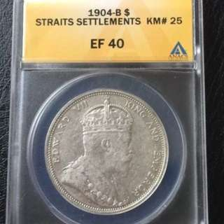 Straits Settlements 1904 EF $1 silver coin