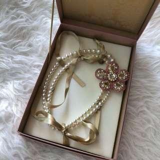 New miu miu faux pearl double choker