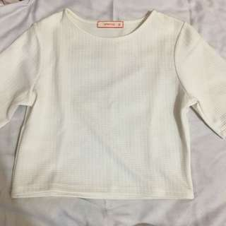 White 3/4 sleeves crop top