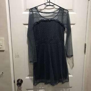 Polka blue gray