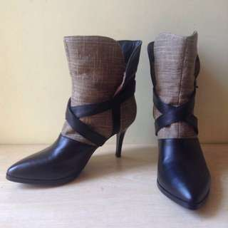 Canvas & leather ankle heeled boots