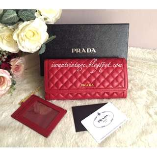 Prada 1MH132 Soft Calf Quilt Continental Wallet-Fuoco