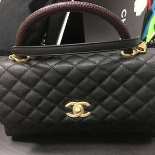 Authentic CHANEL Coco Handle in Black Caviar and Burgundy Lizard Skin