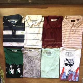 Assorted mens polo shirts and tshirts sizes small to medium
