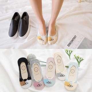 Cute cat print foot socks for women
