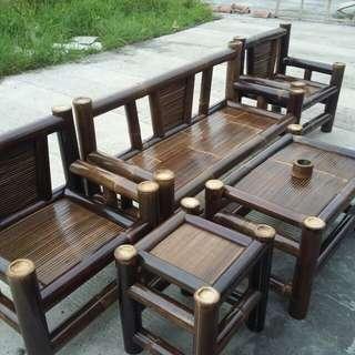 Kursi bambu hitam full set