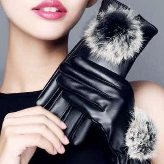 Sarung tangan musim dingin wanita import bahan leather touchscreen gloves winter women
