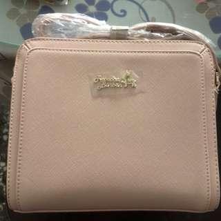 Rebecca bon bon 粉色壓邊方包側背包