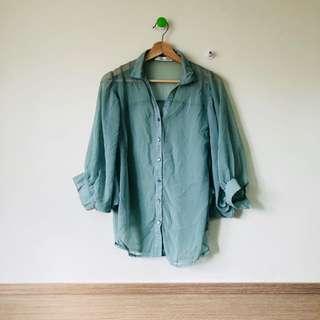 二手 湖水藍 七分袖 襯衫