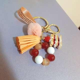 蛋糕,橘貓眼,流蘇,緞帶鑰匙圈