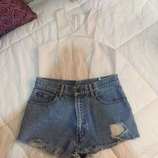 SET 4 (DENIM SHORTS AND SEMI BACKLESS TOP)
