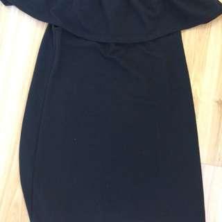 Off the shoulder fitted black dress