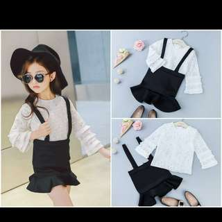 Jumper skirt with long sleeve blouse