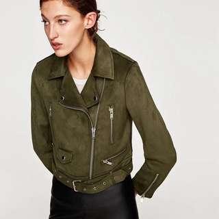 OshareGirl 01 歐美簡約率性時尚高腰麂皮絨拉鍊騎士外套夾克