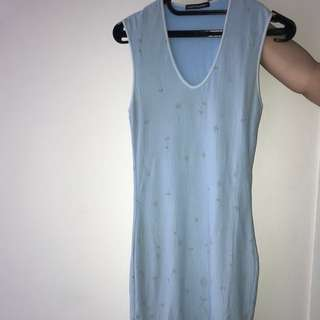 blue fitted mid length dress