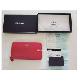 Pink Prada Wallet with receipt and authenticity card