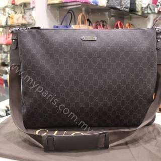 Gucci Men GG Dark Brown Canvas Messenger Bag