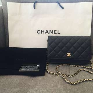 Auth Chanel wallet on chain caviar gold hardware bag