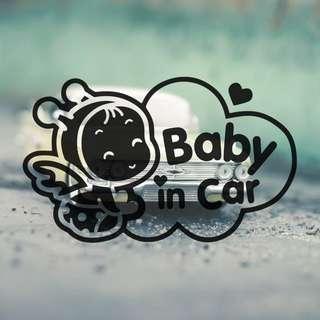 Baby in Car vinyl car sticker