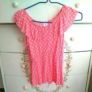 Pink polka dots blouse / top