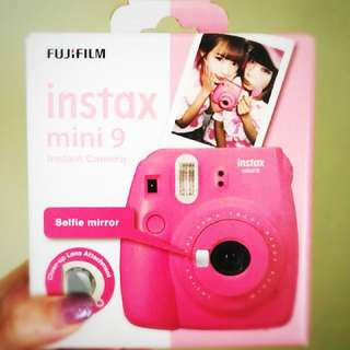 BNIB • Instax Mini 9 Flamingo Pink Fujifilm Instant Camera Polaroid with Selfie Mirror