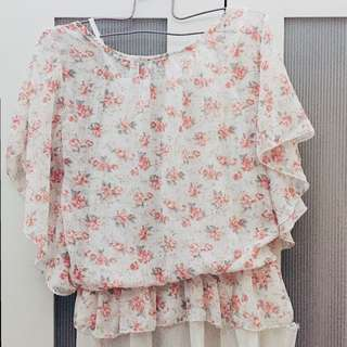 Floral-printed off-shoulder blouse