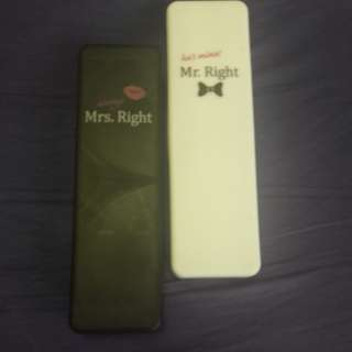 Travel cutlery set (mr right and mrs right)
