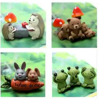 Zakka Little Rhyme Porcupine, Bunny, Frog and Bear miniatures