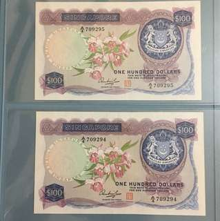 Orchid $100 pair running number original AU not sealed just in plastic folder