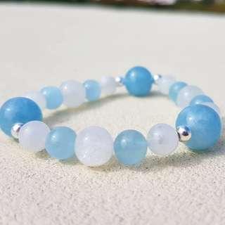 水晶 crystal 海藍寶 月亮石手串