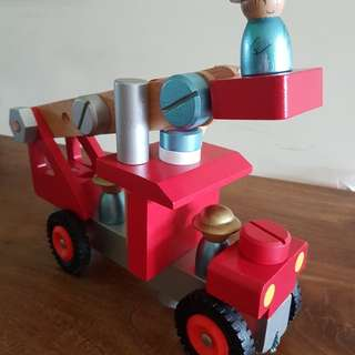 Janod DIY fire truck- v excellent condition