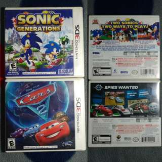 3DS Sonic Generations w/ free Cars 2
