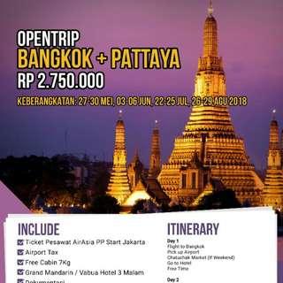 Promo Opentrip Thailand Bangkok + Pattaya 4D3N