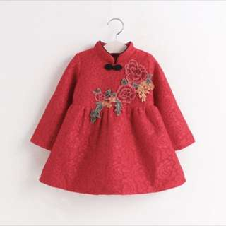 Cny cheongsam tutu tulle dress skirt baby girl toddler infant kid