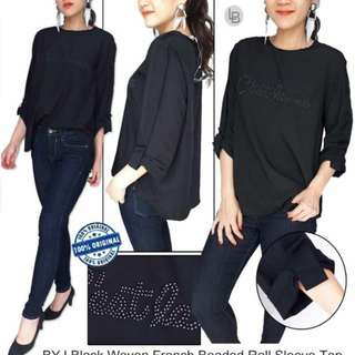 BYJ Black Woven French Beaded Roll Sleeve Top