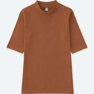 UNIQLO Women Ribbed High Neck Half Sleeves T-Shirt